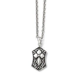 Chisel Stainless Steel Polished and Antiqued Cross Necklace - 20 in