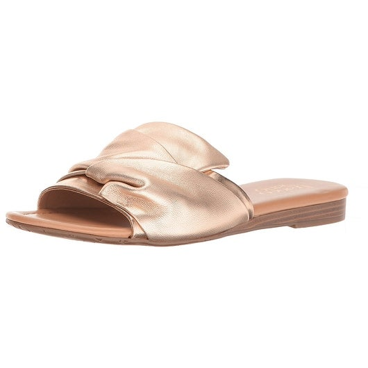 Franco Sarto Womens Gracelyn Leather Open Toe Casual Slide Sandals