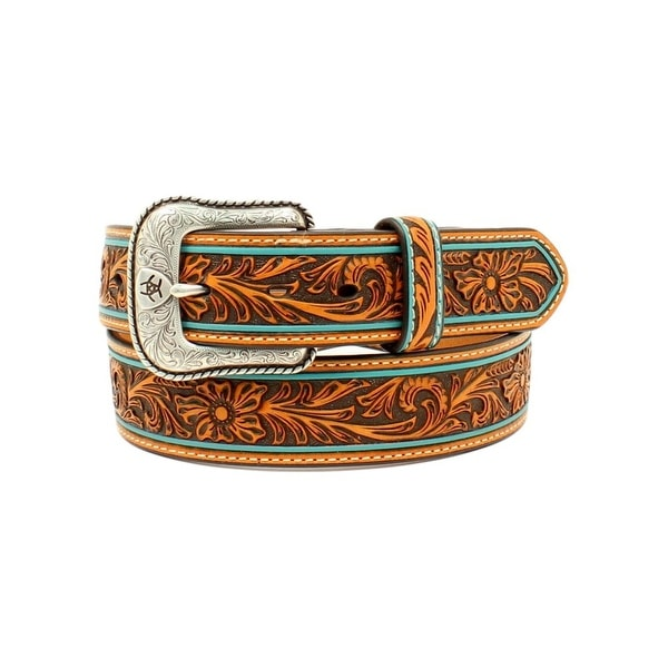 Ariat Western Belt Mens Floral Embossed Shield Rope Tan