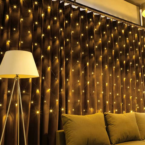 4 Pack 9.84ft x 6.56ft 204 LEDs Window Curtain Lights, Colorful/Warm White/Daylight