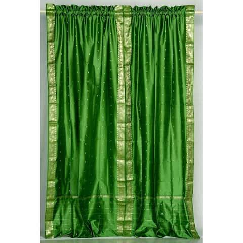 Forest Green Rod Pocket Sheer Sari Curtain / Drape / Panel - Pair