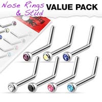7 Pcs Value Pack of Assorted Press Fit Gem 316L Surgical Steel L Bend Nose Ring