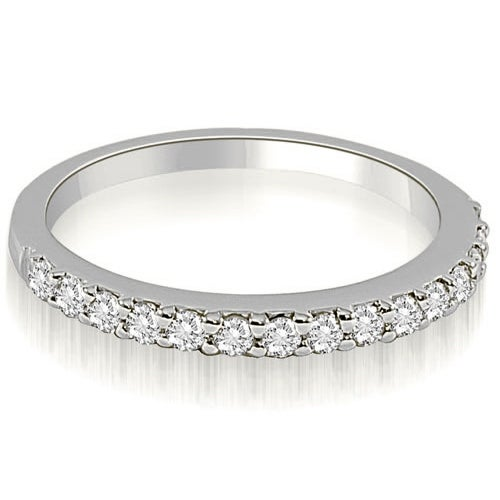 0.16 cttw. 14K White Gold Classic Round Cut Diamond Wedding Band