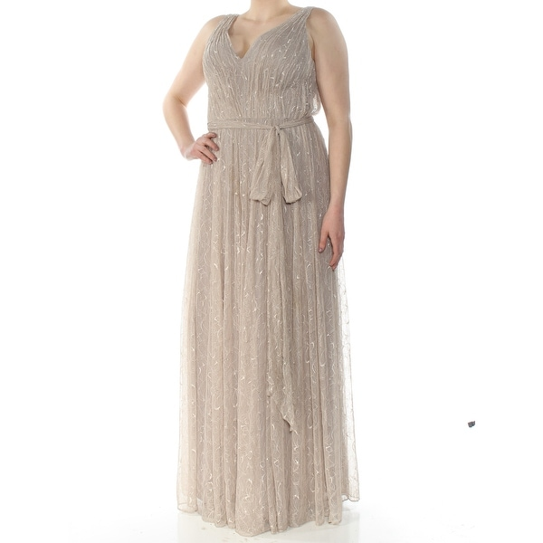 541f42631c503 Shop VERA WANG Womens Beige Lace Detail Sleeveless V Neck Full-Length Empire  Waist Formal Dress Size: 14 - On Sale - Free Shipping Today - Overstock -  ...