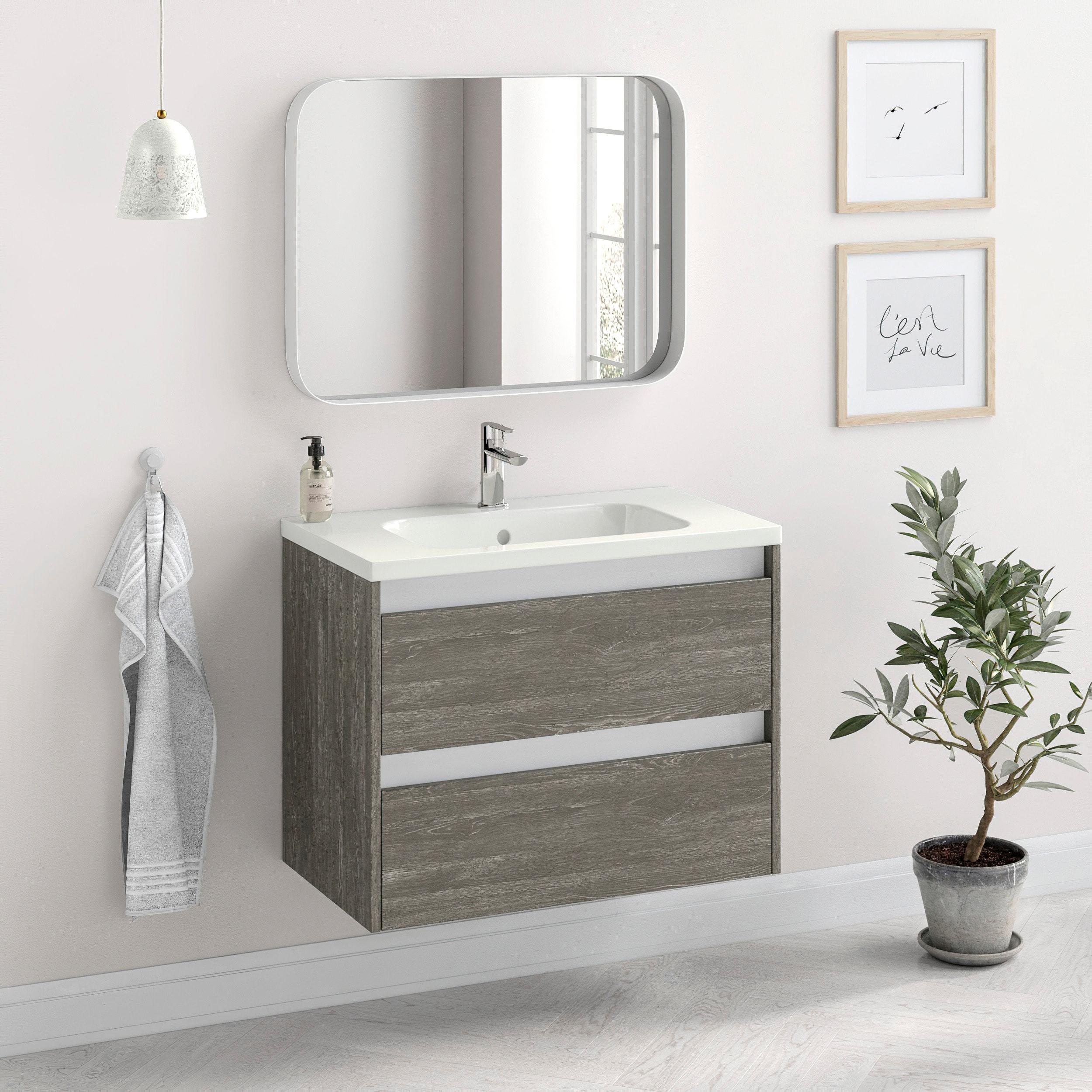 Randalco 32 Modern Bathroom Vanity Cabinet Docce Charred Oak Wood 32 X 24 X 18 Inch Vanity Cabinet Ceramic Top Sink Overstock 32159702