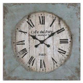 "29"" Green Distressed Rustic Square Wall Clock"