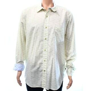 Nautica NEW Yellow Mens Size XL Stripe Pocket Woven Button Down Shirt