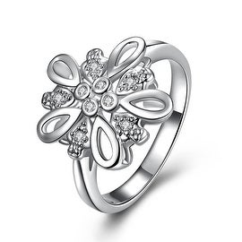 Crystal Stone Blossoming Clover Petite Ring