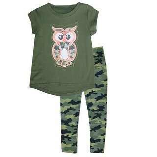 Little Girls Dark Green Owl Detail Hi-Low Top Camouflage 2 Pc Pant Outfit