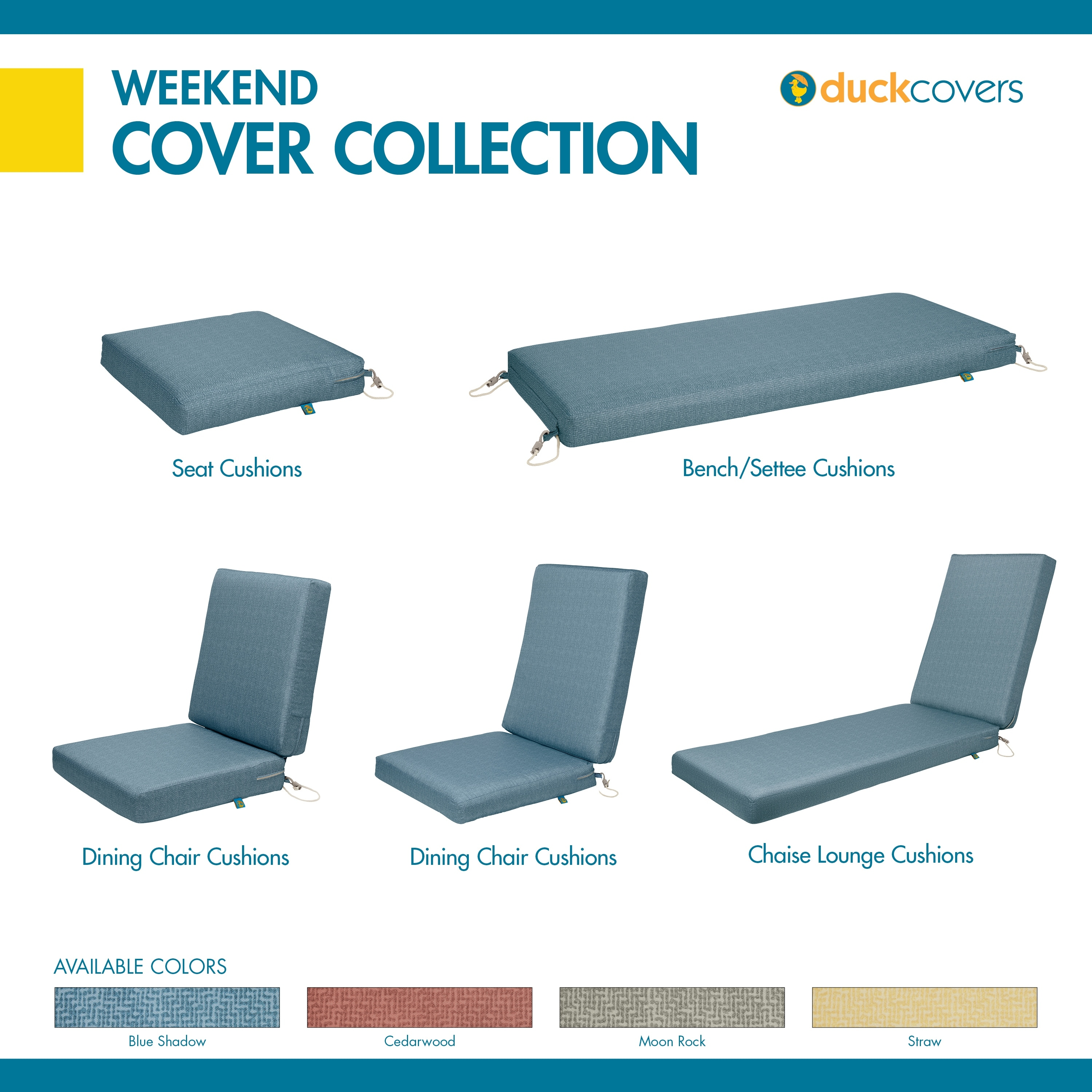 Moon Rock Duck Covers Weekend Water-Resistant 42 x 18 x 3 Inch Outdoor Bench Cushion