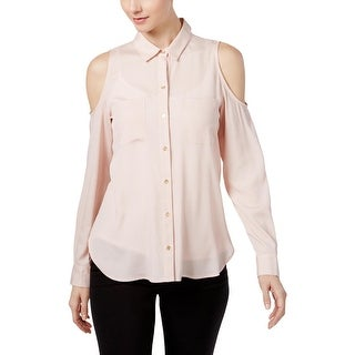 Calvin Klein Womens Blouse Off- The-Shoulder Button-Down