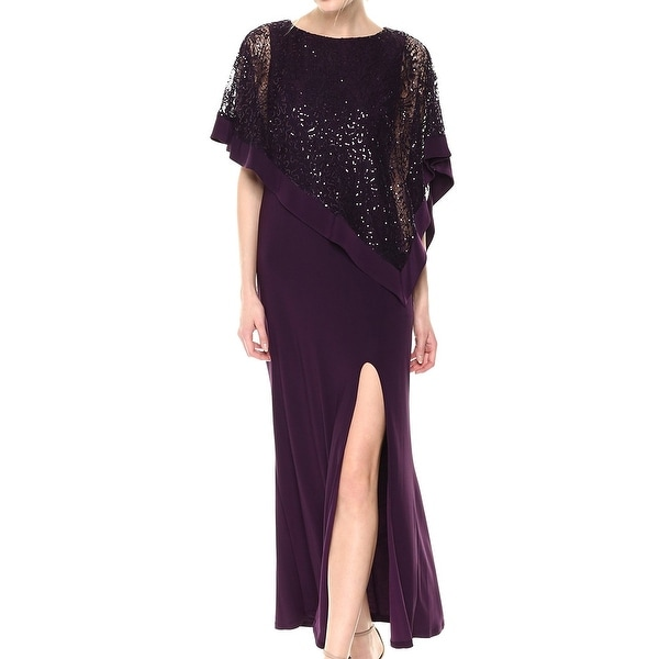 R&M Richards Purple Women's Size 6 Sequin Lace Capelet Gown