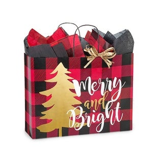 "Pack Of 200, Vogue 16 X 6 X 12.5"" Buffalo Plaid Christmas Paper Shopping Bags Made From Recycled White Gloss Paper Made In Usa"