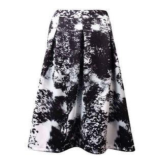 INC International Concepts Women's A-Line Pleated Print Ponte Skirt