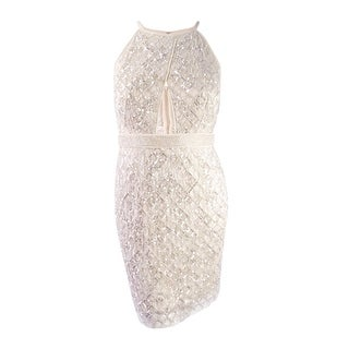Aidan Mattox Women's Beaded Illusion Inset Cocktail Dress (14, Champagne) - Champagne - 14