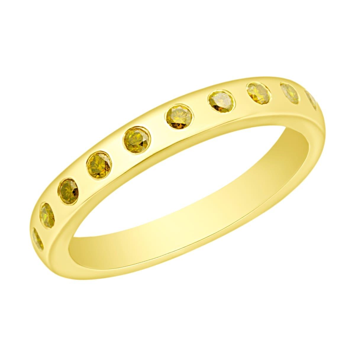 Prism Jewel 0.25CT Flush Set Round Cut Yellow Diamond Wedding Band - Thumbnail 0