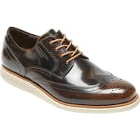 Rockport Men's Total Motion Sport Dress Wingtip Oxford Dark Brown Box Leather