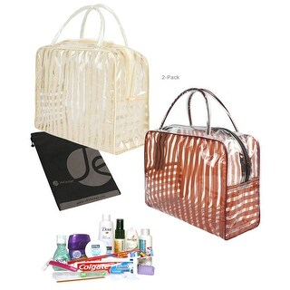 JAVOedge 2 Pack Strips Pattern PVC Transparent Cosmetic / Jewelry / Toiletry Bag for Travel, Storage - beige + brown