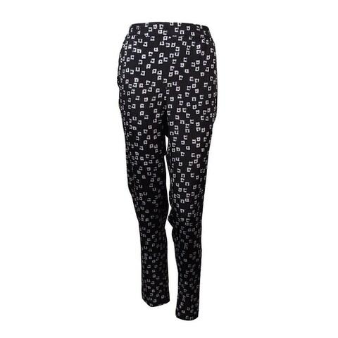 Kensie Women's Square Print Pants - Black Combo - M