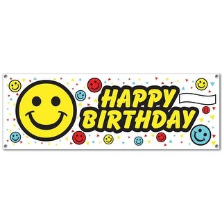 """Club Pack of 12 Fun and Festive Happy Birthday Smile Face Sign Banner 60"""""""