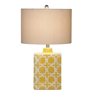 2 Bright Yellow Modern Geometric Ceramic Table Lamps with Fabric Drum Shades