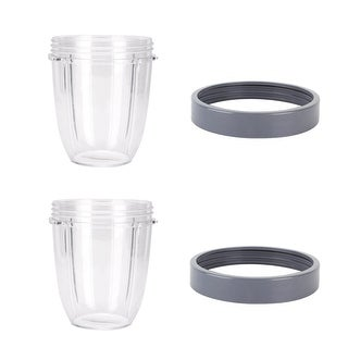 Blendin 2 Pack 18oz Short Capacity Cup with Lip Rings,Fits Nutribullet Blenders