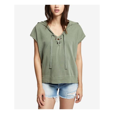 SANCTUARY Womens Green Comber Lace Up Hoodie Short Sleeve V Neck Sweater Size: M
