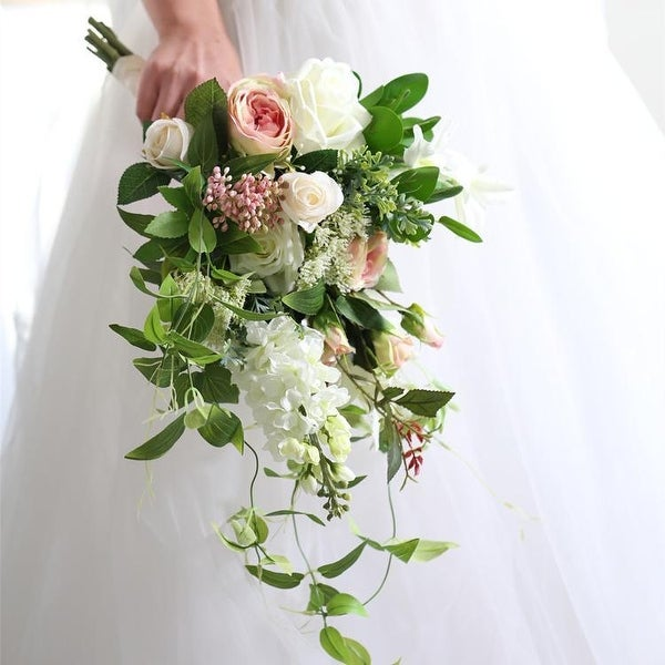 aea00e401e Shop Wedding Bouquet Pink White Greenery Bridal Bouquet - Green ...