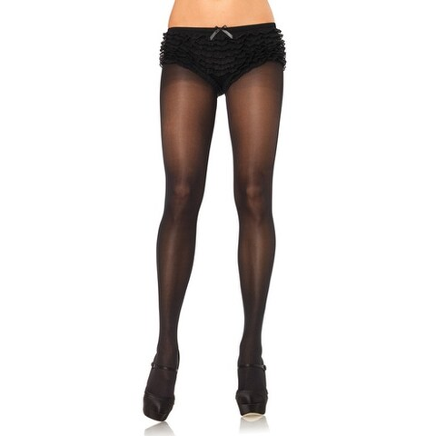 Leg Avenue Plus Size Opaque Sheer To Waist Tights wIth Cotton Crotch - plus size