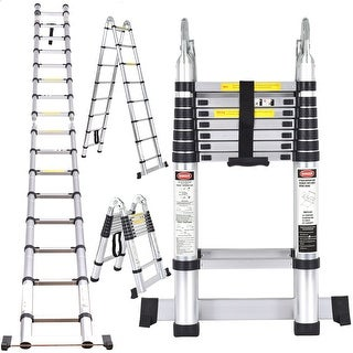 Costway EN131 16.5FT Aluminum Ladder Telescoping Telescopic Extension Tall Multi Purpose
