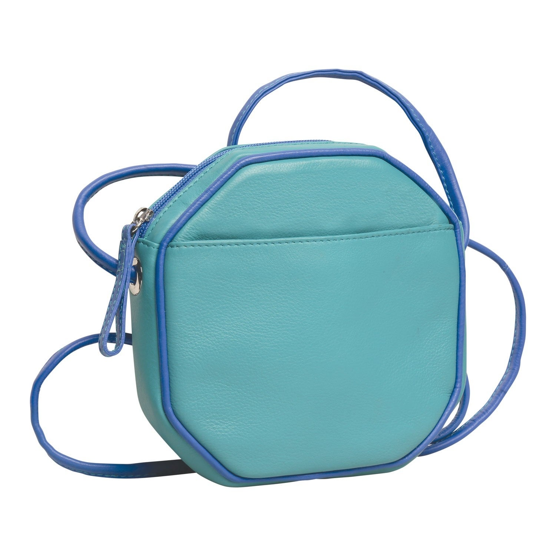huge discount bottom price fashion style Ili Women's Octagon Crossbody Bag - Lined Leather Purse Handbag - One Size