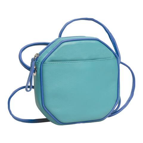 Ili Women's Octagon Crossbody Bag - Lined Leather Purse Handbag - One Size