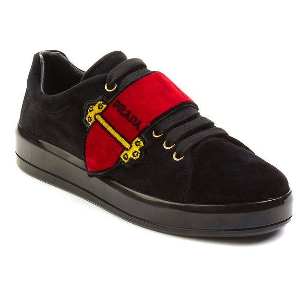 Shop Prada Women s Velvet Grip-Strap Low Top Sneaker Shoes Red ... b04ca1b83aec