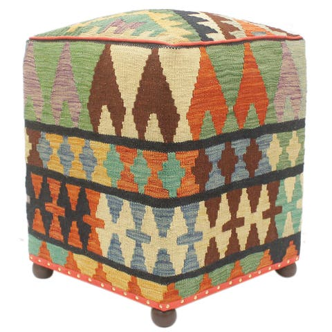 Rustic Carmicha Rust/Blue Handmade Kilim Upholstered Ottoman