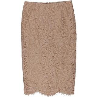 Essentiel Womens Lace Eyelash Trim Straight Skirt