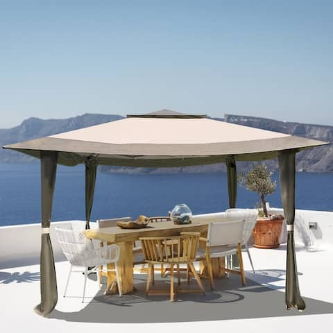 Outdoor 12x12Ft Pop Up Gazebo Tent, Suitable For Patio And Garden, With 140 Square Feet Of Shade, Portable With Carry Bag-Brown