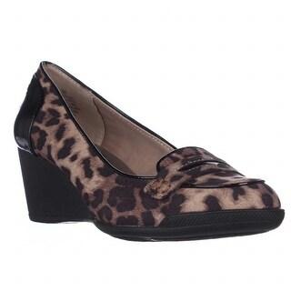 Anne Klein Tagalong Wedge Loafer Pumps - Leopard/Black