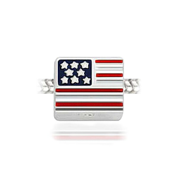 925 Sterling Silver American Flag Charm Made in America