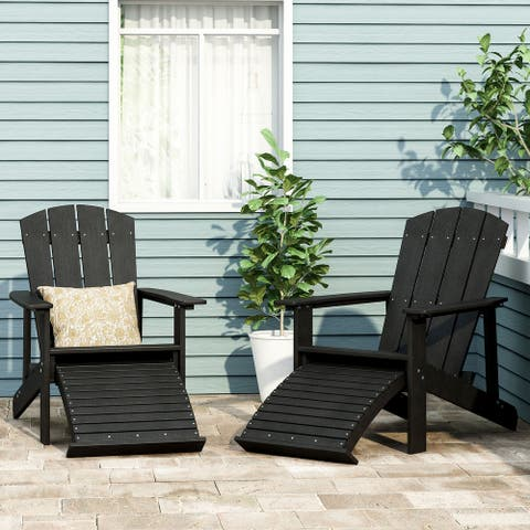 Hunter Outdoor Adirondack Chair with Retractable Ottoman (Set of 2) by Christopher Knight Home