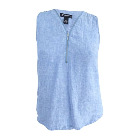 INC International Concepts Women's Petite Linen Half-Zip Top (12P, Chambray) - 12P