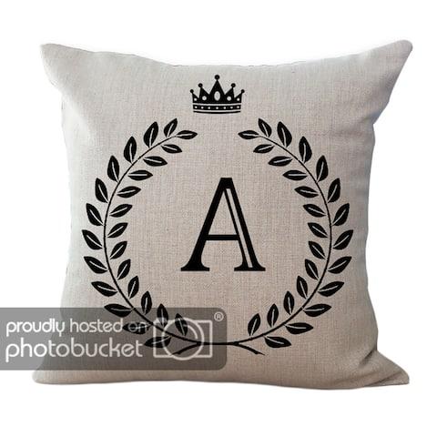 "ChezMax Cotton Linen Cushion Cover English Alphabet Pattern Square Decor Pillowslip Decorative Throw Pillow Case 18"" X 18"""