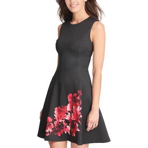 DKNY Women's Dress Black Red Size 8 A-Line Floral-Print Crew Seamed