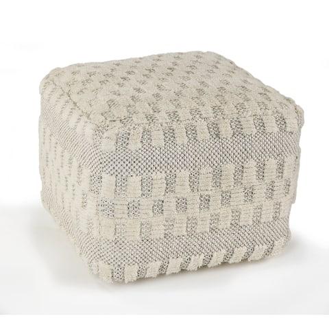 LR Home Cream Dreams Tufted Cube Pouf