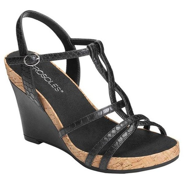 132d9502a57 Aerosoles Women  x27 s Plush Song Wedge Sandal Black Snake Embossed Faux  Leather