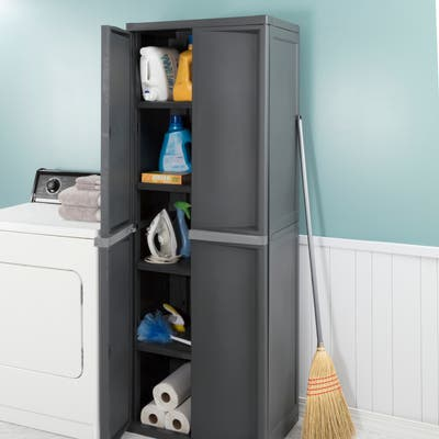 STERILITE Black Plastic 4-shelf Storage Cabinet - Case of 1