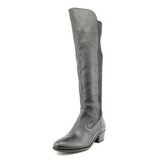 INC International Concepts Bunni Women Leather Black Over the Knee Boot