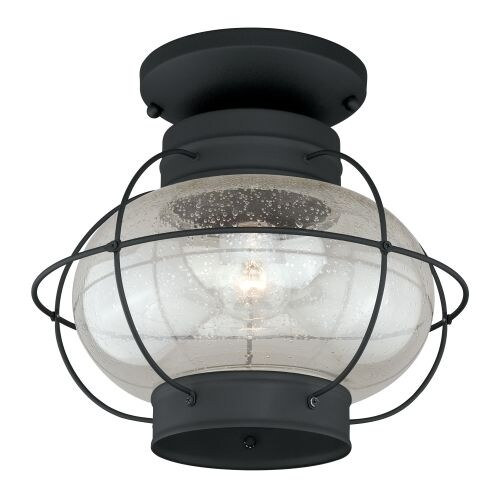 Vaxcel Lighting T0144 Chatham 1 Light Semi-Flush Mount Outdoor Ceiling Fixture with Clear Seeded Glass Shade and Metal Guard -