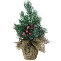 "9.5"" Mini Pine Christmas Tree with Berries in Beige Burlap Pot"
