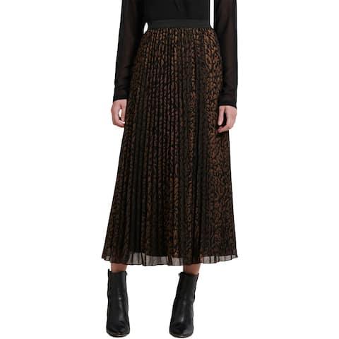 DKNY Womens Maxi Skirt Pleated Animal Print