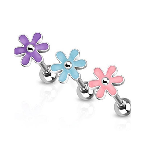 Cute Epoxy Flower Top 316L Surgical Steel Barbell (Sold Individually)